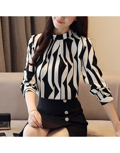 2018 new arrived fashion women blouse long sleeved printed women top stand collar blouses slim fit office lady blusa 0941 40...