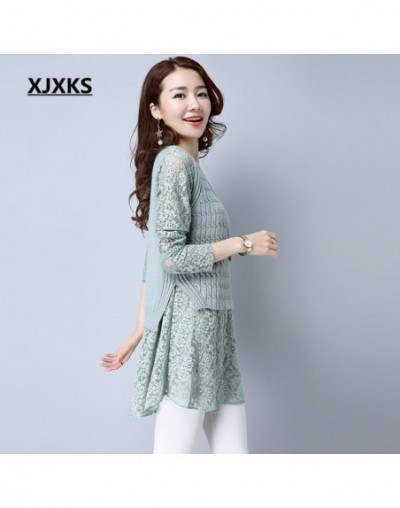 New 2019 Autumn Women Pullovers Sweater Dresses Knitted Lace Sleeve Vintage Beautiful Natural Casual Long Sweater - Green - ...