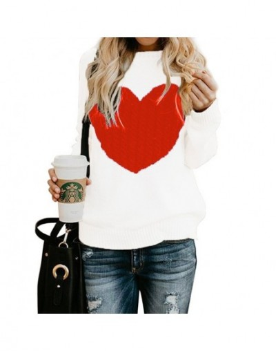 Winter Women Jumper Warm Fashion Heart Shape Sweaters and Pullovers Female Plus Size Ribbed Knitted Sweater Pull Femme - whi...