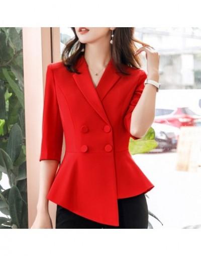 Women Red blazer Slim Spring Autumn new Elegant Office Lady Jacket OL temperament formal business uniforms - Red blazer - 4R...