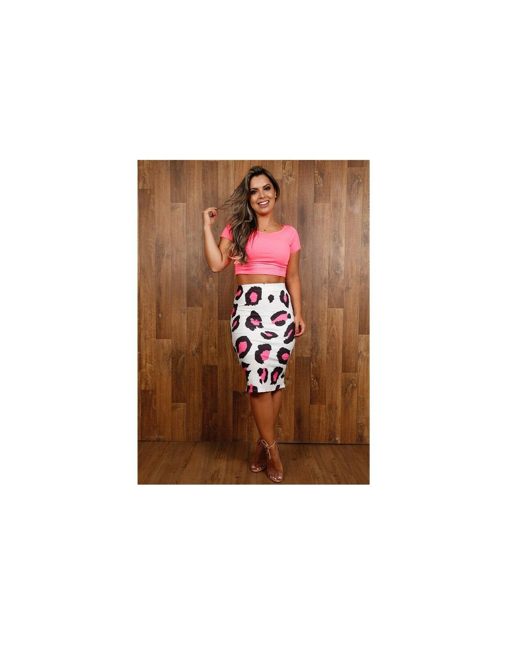 US Women Sexy Printed Bodycon Clubwear Skirt Cocktail Evening Pencil Short Skirt - Pink - 4Y3007282139-3