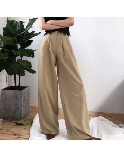 Women's Wide Leg Pants High Waist Zipper Pocket Big Size X Long Trousers Spring Female 2018 Fashion OL Clothing - apricot - ...