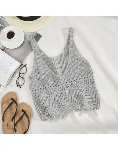 Women V-neck Hollow Out Knitted Tank Tops Solid Tassel Backless Hole Crop Tops Woman's Vest 2019 Summer Fashion Clothes Fema...