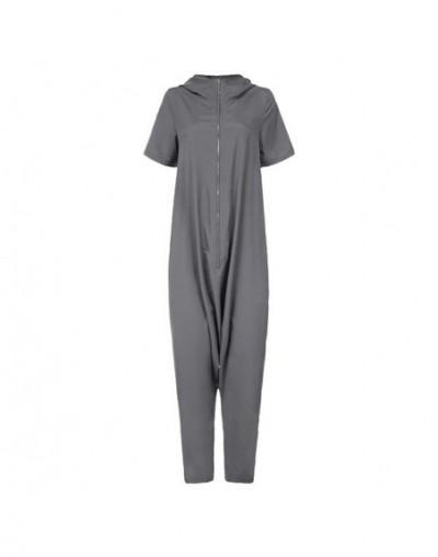 2019 Plus Size Jumpsuits Women Short Sleeve Overalls Hoodies Loose Harem Pants Solid Casual Zipper Rompers Femme Pantalon - ...