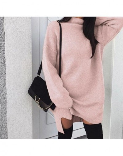Poem snow Large loose knitted high-collar open-forked dress - NO 2 - 4H4130225821-5