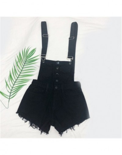 Denim Overalls Women Korean Fashion Jumpsuits Female Denim Playsuit Cotton Straps Tracksuits Womens High Waist Rompers - Bla...