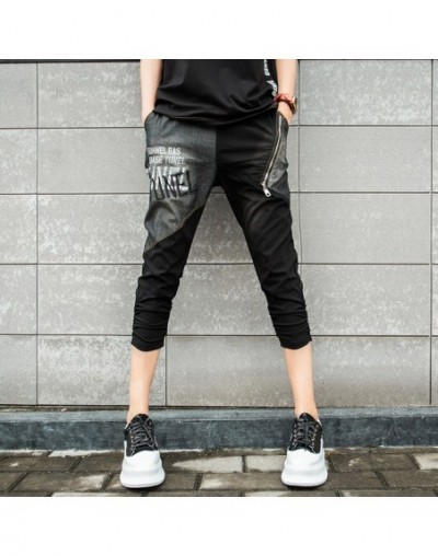 Summer Korean Fashion Ladies Casual Trousers Women 3d Printed Black Denim Jeans Female Embroidery Harem Pants Plus Size - Bl...