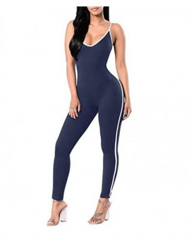 Women Jumpsuits & Rompers Summer Skinny Rompers Black White Sexy Bodycon Strap Overalls Striped Party Bodysuit WKL303 - Stri...