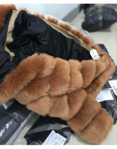Elegant Faux Fox Fur Coat Women Winter casual Warm Luxury Fake Fur coat 2018 Fashion fluffy Coats Female Hooded Jacket Overc...