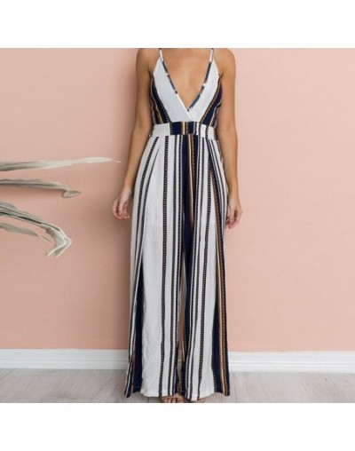2019 Strapless Casual Sexy Loose Playsuits Backless Summer Overalls Womens Striped Jumpsuit - Black - 5B111227848123-1