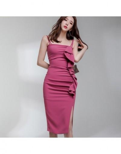 Sexy Spaghetti Strap Strapless Dress Women Ruffles Ruched Draped Split Dresses Solid Slim Club Party Sheath Vestidos - Rose ...