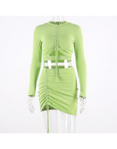 Sexy Hollow Out Lace Up Casual 2 Piece Set Women Festival Clothing Two Pieces Sets Crop Tops+Bodycon Skirt Set co ord Tracks...