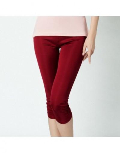 100% Pure Silk Women's Calf-Length Pants Slim Solid Female Pantalones Ladies Mujer Simple Women Trousers For Woman - dark re...