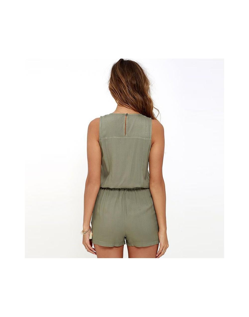 Sexy Women Sleeveless V-neck Jumpsuit Zipper Pockets Playsuit Shorts Summer Beach Overalls -OPK - 4000084759074