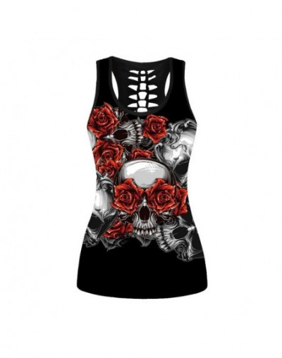 Skull Skeleton Tank Tops Women Red Rose Round Tops Sleeveless Plus Size Vest Sleeveless Cropped Woman Top Clothing - LNDBS10...