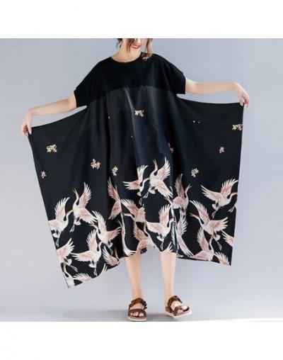Simple Irregular Women Dress 2019 Summer New Print Loose Patchwork Vacation Casual Short Sleeve Black Vintage Dresses - Blac...