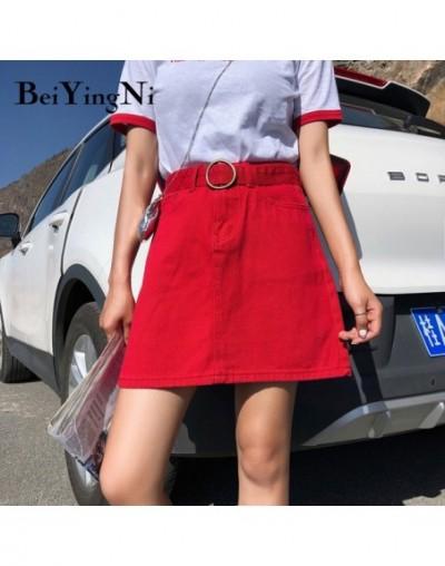 Large Size Summer Belt Jeans Skirts Cowboys L-4XL Korean Cool Black Plus Size Denim Skirt Fashion Solid A Line Skirt - Red -...