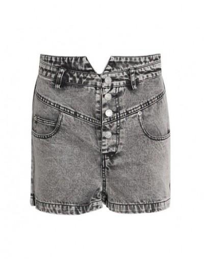 Streetwear Short Pants For Women High Waist Light Wash Bleached Denim Trousers Female Fashion Summer 2019 New - gray - 54111...