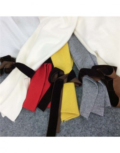 2017 Autumn Winter New Korean Women Lace Up Sweater Sweet Bow O neck Knitwear Solid Speaker Sleeves Knit Tops 65955 - 65955 ...
