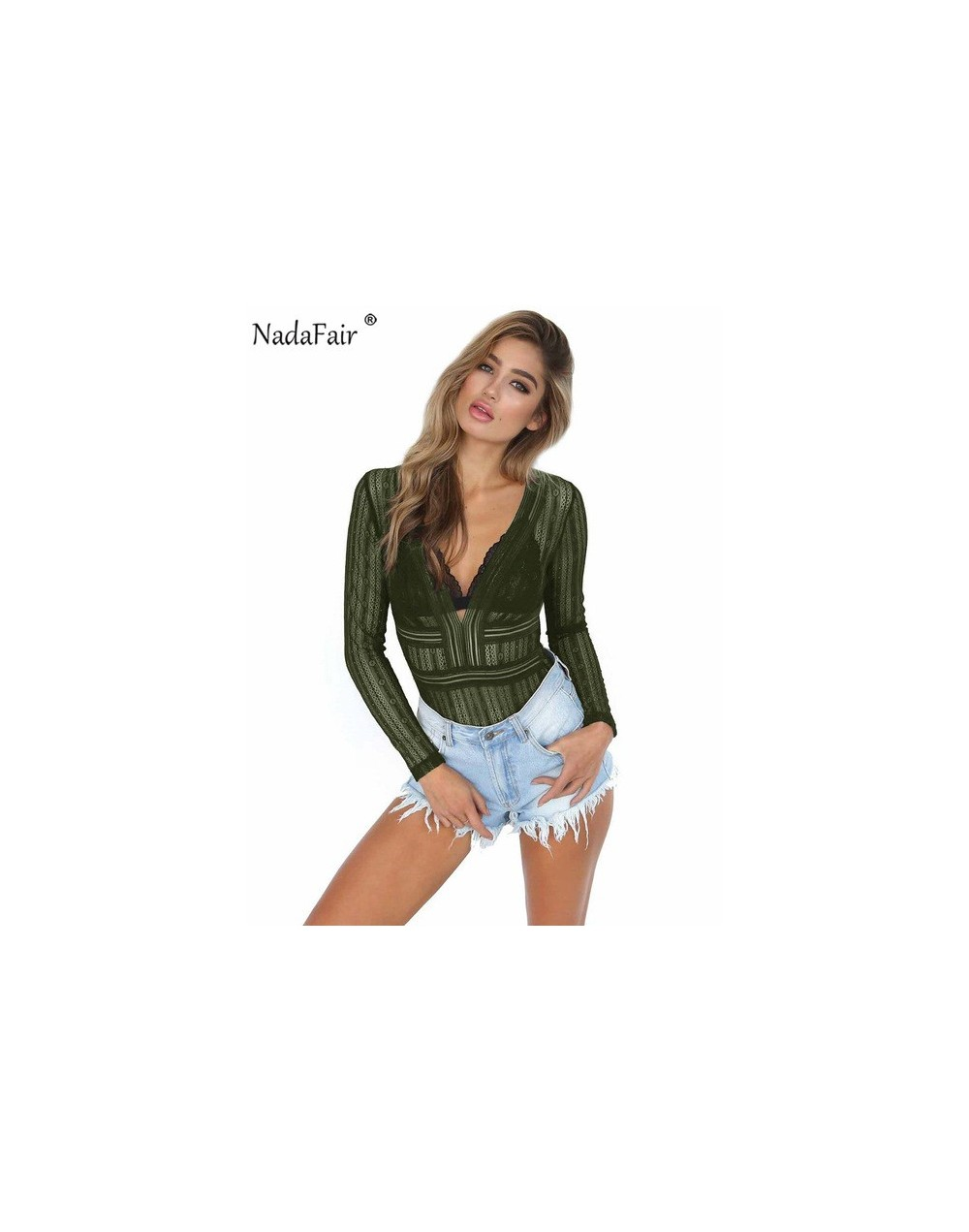 Lace Bodysuit Bodysutits Women Long Sleeve V Neck Backless See Through Sexy Rompers Female Club Casual Sexy Summer Tops - Ar...