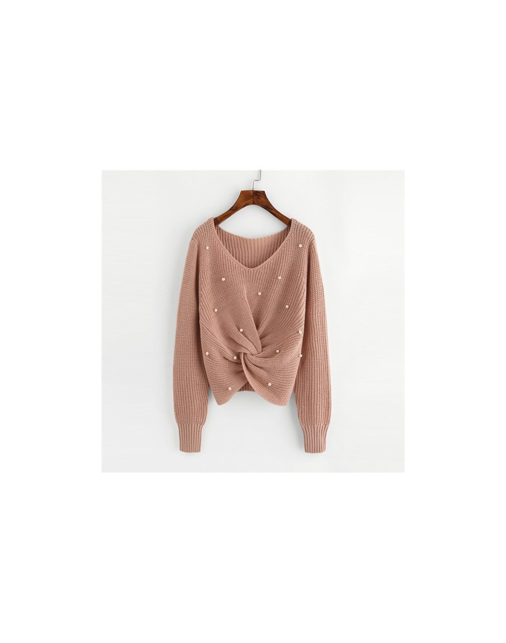 Plain V Neck Pearl Beading Casual Sweater Long Sleeve Detail Twist Knitted Sweater Fall Winter Tops For Women Pollover - Pin...