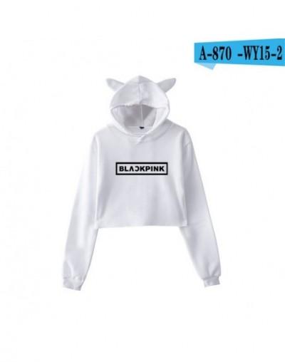 Kpop BLACKPINK Kawaii Cat Ear Hoodies Women Kpop Fans Support Sweatshirt Ladies BLACKPINK Letter Print Crop Tops Clothes - W...