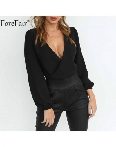 Backless V Neck White Sexy Blouse Women Summer Wrap Shirt Long Sleeve Chiffon Womens Tops and Blouses - black - 464120751041-1