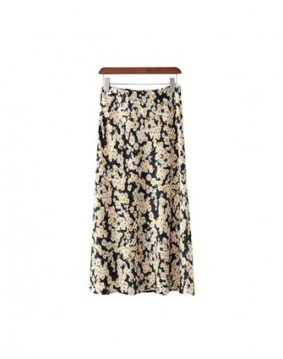 women retro floral heart print trumpet ankle length skirt elastic waist pleated side zipper design fashion skirts BA582 - as...