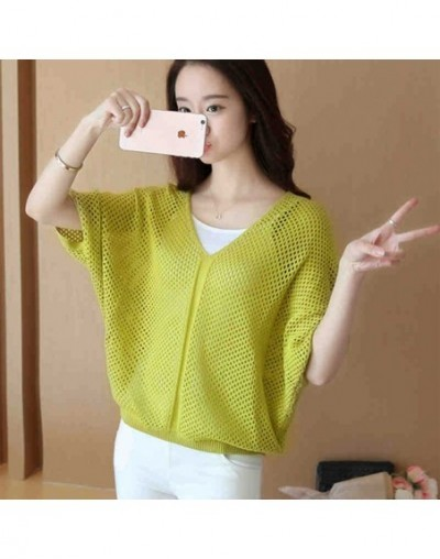 One Piece Women Summer Knitted Sweater Hollow Out Transparent V-neck Sexy Pullover Half Sleeve Jumper Solid Clolor - Light g...