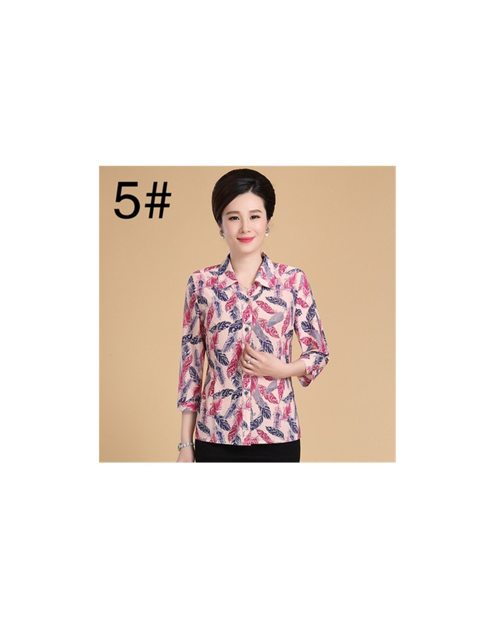 Middle Age Women Blouse 2019 Summer New Plus Size Mother Three Quarter Sleeves Silk Print Shirt Blusa Feminina Top Cardigan ...