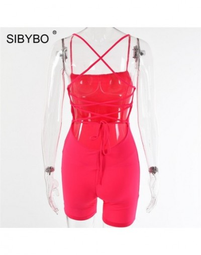 Cross Bandage Backless Summer Women Playsuit Romper Sleeveless Strap Sexy Jumpsuit Women Beach Playsuits and Jumpsuits - Ros...