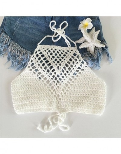Women Summer Short Vest Sexy Hollow Out Plain White Halter Vest Strap Crop Tops Crochet Bikini Tank Tops Shirt Hot Sale - As...