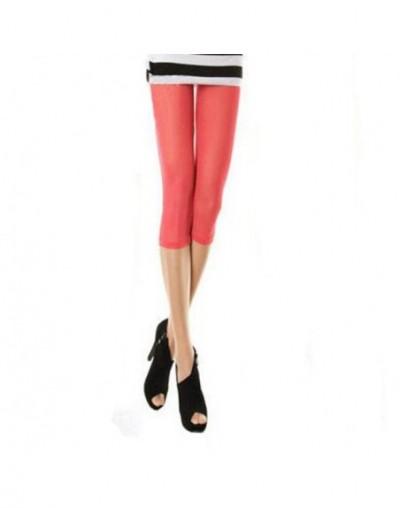 Hot Selling Fresh Stylish Women's Elastic Mesh Leggings Thin Short Mid-Calf Leggings Candy Color Half Pants Female - Waterme...
