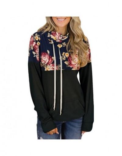 Winter women Hoodies girl Sweatshirts Womens Turtleneck Tops Floral Print Shirts Tunic Long Sleeve Pullover female Sweatshir...