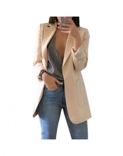 Women Autumn Cardigans Long Sleeves Slim Fit Turn-down Collar Female Suit Coat HSJ88 - Khaki - 4V4147401421-4