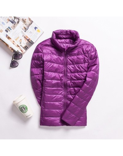 Winter Thin Women Coat Outerwear 90% White Duck Down Stand Collar Warm Pockets Zipper Pockets High Quality Jackets Femme - p...