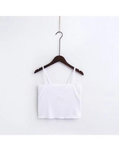 Summer Women U Vest knitted Cotton bustier crop top Flower embroidery elastic tube sexy Slim tank Beach tops Black white - W...