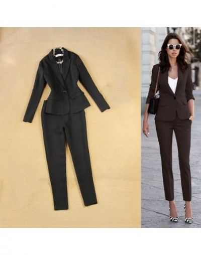 Professional office women's suit overalls two-piece Autumn casual slim black small suit jacket female Slim trouser suits 201...