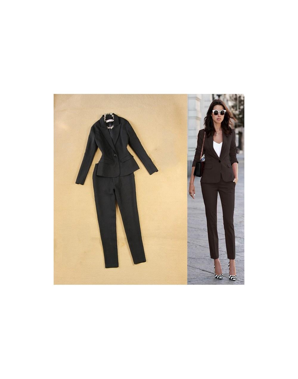 Professional office women's suit overalls two-piece Autumn casual slim black small suit jacket female Slim trouser suits 201...