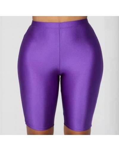 Biker Shorts Women 2019 New Solid Color Elastic High Waist Shorts Pink Sexy Bodycon Summer Shorts Black Red Plus Size - Purp...