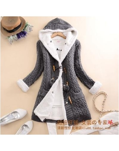 New arrival Girl Sweater Coat Winter 2019 Autumn Casual Solid Hooded Long Thicker Cashmere Knit cardigan sweater Jacket Stud...