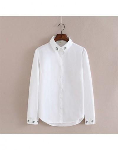 White Blouse Women Work Wear Button Up Lace Turn Down Collar Long Sleeve Cotton Top Shirt Plus Size S-XXL blusas feminina T5...