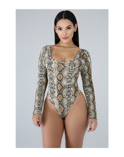 Women Sexy Snakeskin Print Bodysuits Scoop Neck Long Sleeve Casual Romper Fashion Tops Summer Swimwear Swimming Suit - brown...