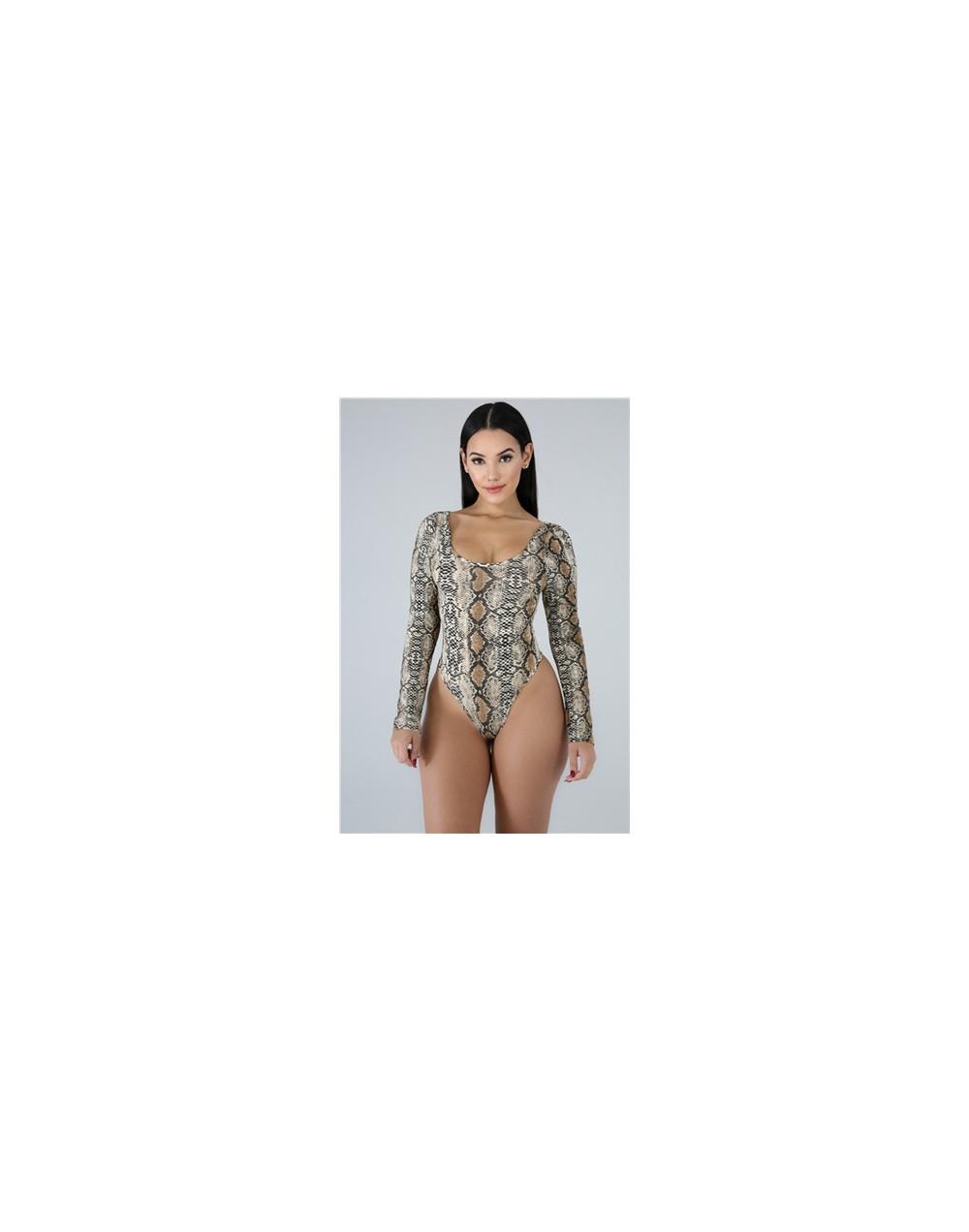 Women Sexy Snakeskin Print Bodysuits Scoop Neck Long Sleeve Casual Romper Fashion Tops Summer Swimwear Swimming Suit - brown...