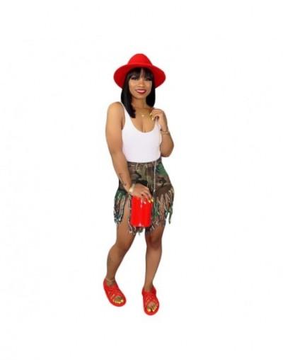 Women Casual High Waist Worn Tassel Slim Shorts Summer Female Pockets Camouflage Bodycon Shorts Plus Size Knee Length Pants ...