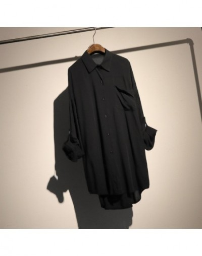 2019 New Spring Summer Lapel Long Sleeve Black Pocket Split Joint Loose Big Size Shirt Women Blouse Fashion Tide JT399 - bla...