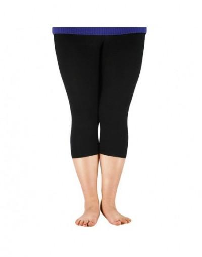 Plus Size Women's 3/4 length Leggings Bamboo Fiber Capri Legging High Stretchy Leggings Pants Basic Leggings - Black - 4Q412...