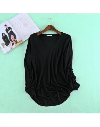 100% Bamboo Fiber cotton Comfortable soft summer Long Sleeve t-shirt women tshirt tops O Neck Casual Loose Asymmetric t shir...