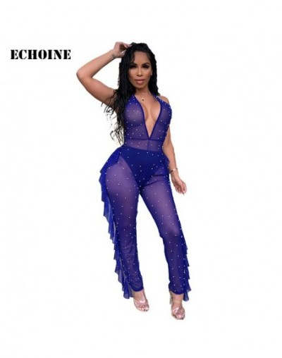 Summer Sexy Sheer Mesh Jumpsuit Beading Mesh Women Ruffle Rompers Jumpsuit V-neck Backless Transparent Playsuit Club Outfits...