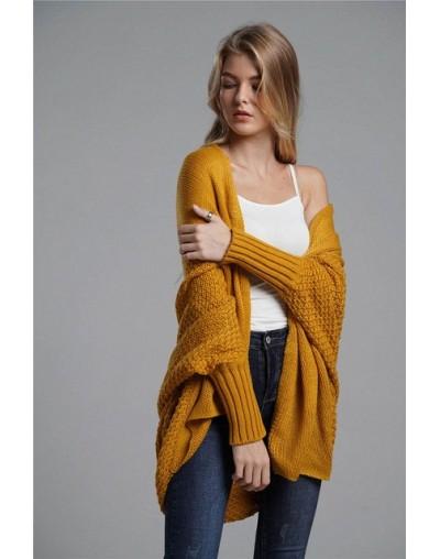 Oversized sweater cardigan female clothes patchwork batwing sleeve long cardigans women winter jacket coat big sizes - yello...